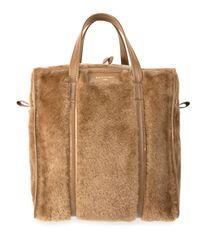 Balenciaga Natural Bazar Shopper Small Shearling Fur Bag
