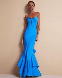 Zac Posen | Blue Strapless Sweetheart-neck Trumpet Gown | Lyst