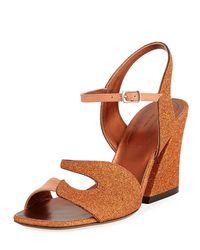 Dries Van Noten Orange Glitter And Leather Chunky Sandal