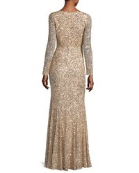 Rachel Gilbert   Metallic Long-sleeve Sequined V-neck Gown   Lyst