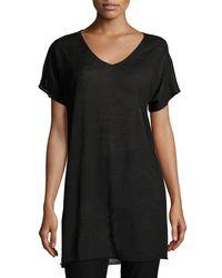 Eileen Fisher - Black Short-sleeve Fine Organic Linen Crepe Tunic - Lyst