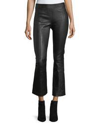 Helmut Lang - Black Leather Mid-rise Crop Flare Pants - Lyst