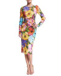 Monique Lhuillier Multicolor Floral Lace Long-sleeve Sheath Dress