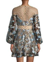 Elliatt Black Diana Lattice Mesh-yoke Floral Dress