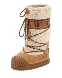 Moncler - Natural Venus Shearling Fur Moon Boot - Lyst