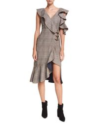 Self-Portrait Multicolor O-ring Wool-check Midi Wrap Dress W/ Asymmetric Frill