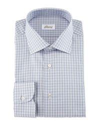 Brioni - Blue Shadow-check Long-sleeve Dress Shirt for Men - Lyst