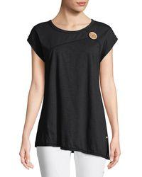 Neon Buddha Black Playa Slub Jersey Asymmetric Top With Coconut Button