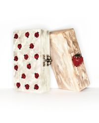 Edie Parker | White Jean Marbled Acrylic Strawberry Clutch Bag | Lyst