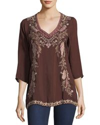 Johnny Was - Brown Ollie 3/4-sleeve Embroidered Blouse - Lyst