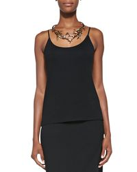 Eileen Fisher - Black Scoop-neck Jersey Cami - Lyst