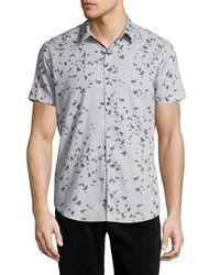 Theory - Gray Zack S. Leaflet Linen-cotton Short-sleeve Shirt for Men - Lyst