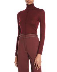 Gabriela Hearst - Purple Turtleneck Long-sleeve Cashmere-silk Top - Lyst