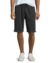 Helmut Lang - Black Men's Distressed-hem Knit Shorts for Men - Lyst