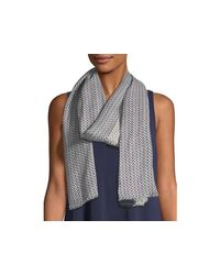 Eileen Fisher Blue Printed Organic Cotton Medley Scarf