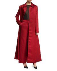 The Row Red Neyton Long Silk Satin Coat