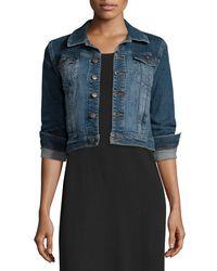 Eileen Fisher - Blue Denim Cropped Jacket & Floor-length Jersey Dress - Lyst