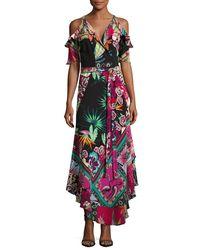 Etro - Black Tropical-print Cold-shoulder Wrap Dress - Lyst