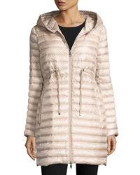 Moncler - Natural Barbel Hooded Puffer Coat - Lyst