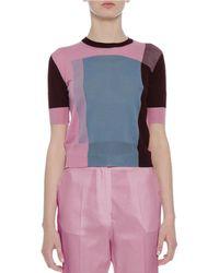 Bottega Veneta - Pink Colorblock Crewneck Short-sleeve Sweater - Lyst