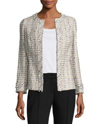 Lafayette 148 New York - Multicolor Emelyn Open-front Plantain Tweed Jacket - Lyst