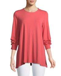Eileen Fisher - Pink Long-sleeve Jersey Round-neck Top Petite - Lyst