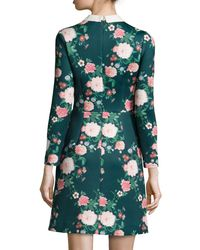 Erin Fetherston | Green Mila Collared Floral-print Cocktail Dress | Lyst