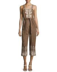 Johnny Was - Green Marlene Embroidered Linen Cropped Jumpsuit - Lyst