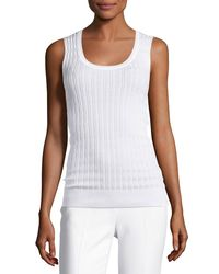 M Missoni Zigzag Knit Tank Top White