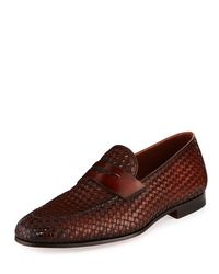 Neiman Marcus Brown Woven Leather Penny Loafer for men