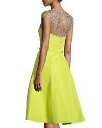 Pamella Roland - Yellow Cap-sleeve Embellished-yoke Dress - Lyst