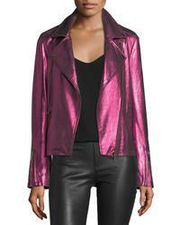 Neiman Marcus - Pink Metallic Suede Motorcycle Jacket - Lyst