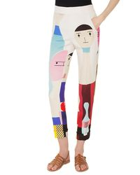 Akris Multicolor Chris Doll-print High-waist Cuffed Crepe Pants