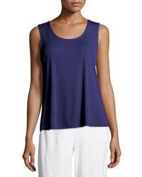 Eileen Fisher - Blue Stretch Silk Jersey Scoop-neck Tank Top - Lyst
