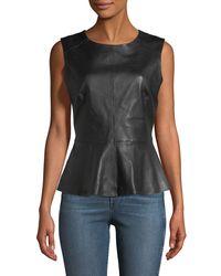 Neiman Marcus Black Sleeveless Leather Peplum Top