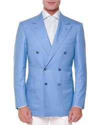Stefano Ricci Blue Tonal-stripe Double-breasted Sport Coat for men