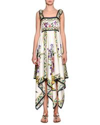 Dolce & Gabbana - White Floral-print Silk Handkerchief Dress - Lyst