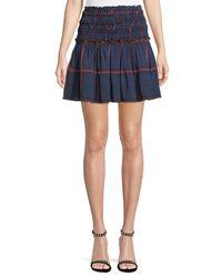 Camilla & Marc - Blue Alaine Smocked Plaid Mini Skirt - Lyst