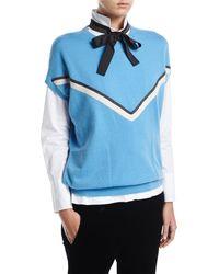 Brunello Cucinelli - Blue Cashmere Cap-sleeve Pullover With Monili Stripe - Lyst