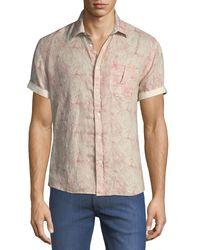 Billy Reid Red Martin Short-sleeve Swirl-print Linen Shirt for men