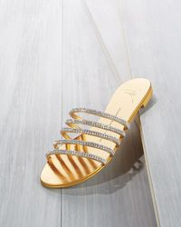 Giuseppe Zanotti - Metallic Crystal-embellished Multi-strap Slide Sandal - Lyst