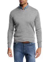 Peter Millar Gray Wool-blend V-neck Sweater for men