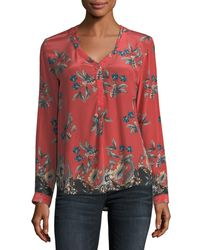 3cd97a3e0e5c8 Lyst - Tolani Genevia Long-sleeve Floral-print Silk Blouse in Red