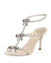 16f397243 Lyst - Rene Caovilla Bow Embellished 80mm Sandal in Metallic