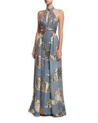 Jovani - Metallic Shirred Keyhole Evening Gown W/ Train - Lyst