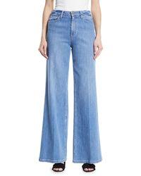 PAIGE Blue Sutton High-rise Wide-leg Jeans