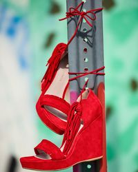 Stuart Weitzman - Brown Pompom Fringe Ankle-tie Wedge Sandal - Lyst