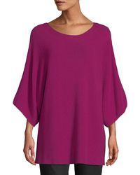 Eileen Fisher - Purple Bateau-neck 3/4-sleeve Ribbed Merino Wool Sweater - Lyst