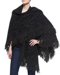Nude - Multicolor Chevron Wool Shawl W/ Fringe - Lyst