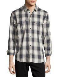 IRO Black Albion Check-plaid Long-sleeve Sport Shirt for men